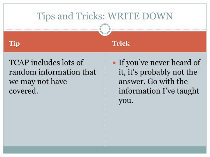 Tips and Tricks: WRITE DOWN