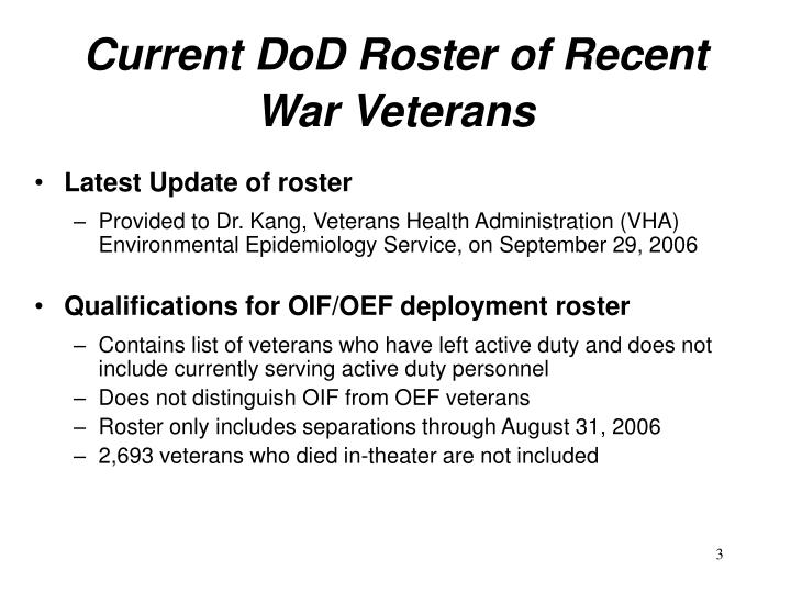 Current dod roster of recent war veterans1