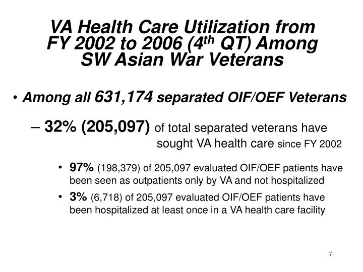 VA Health Care Utilization from          FY