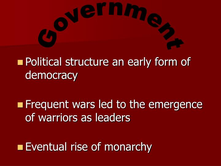 Political structure an early form of democracy