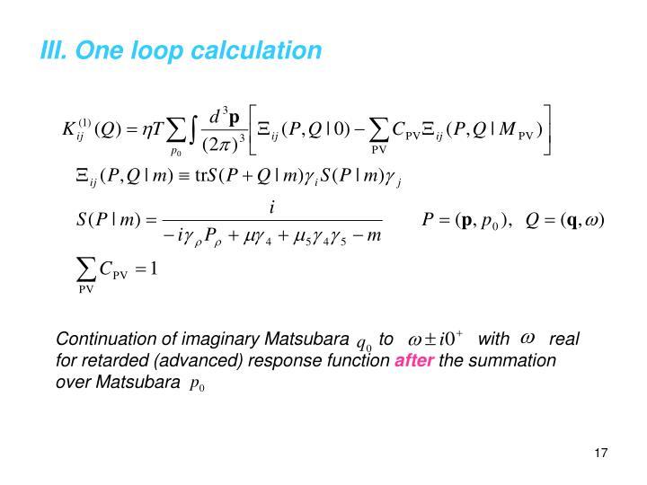 III. One loop calculation