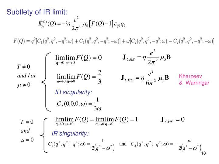 Subtlety of IR limit: