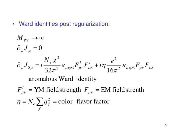 Ward identities post regularization: