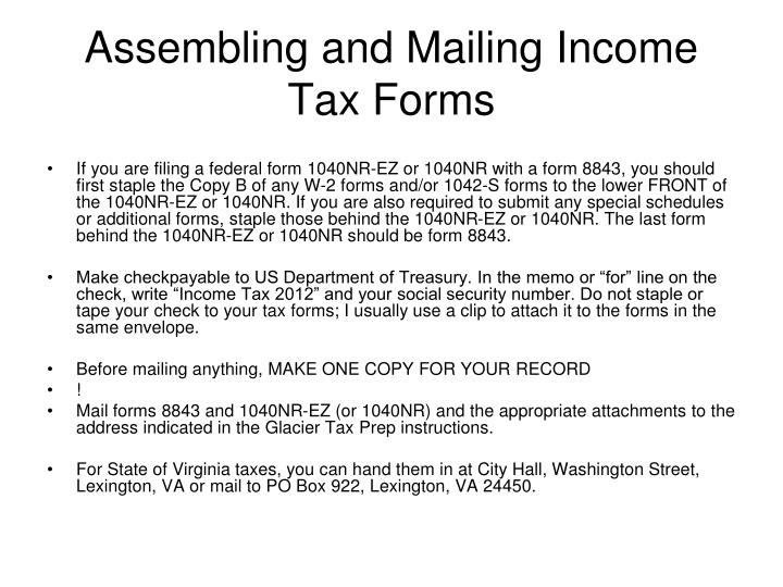 Assembling and Mailing Income Tax Forms