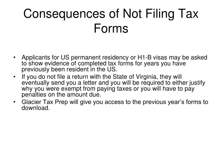 Consequences of Not Filing Tax Forms