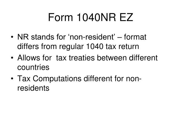 Form 1040NR EZ
