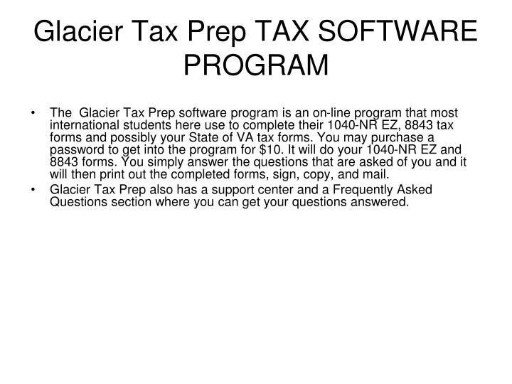 Glacier Tax Prep TAX SOFTWARE PROGRAM
