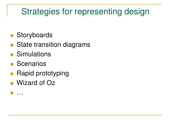 Strategies for representing design
