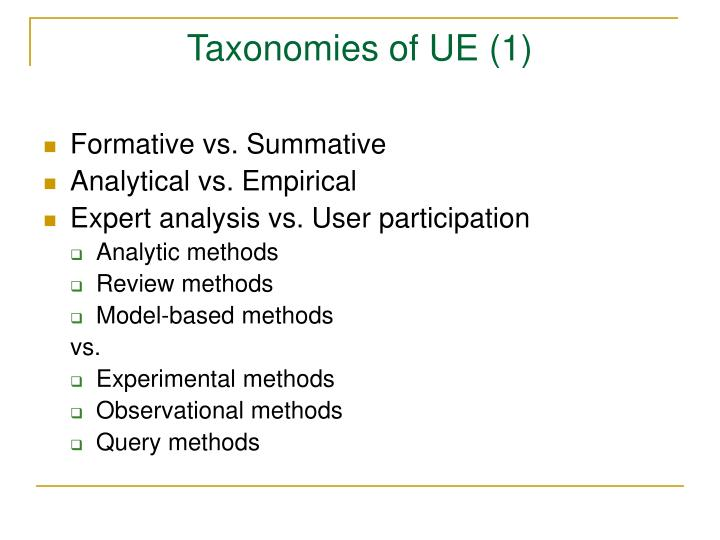 Taxonomies of UE (1)