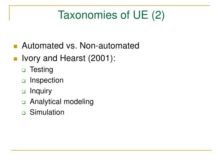 Taxonomies of UE (2)