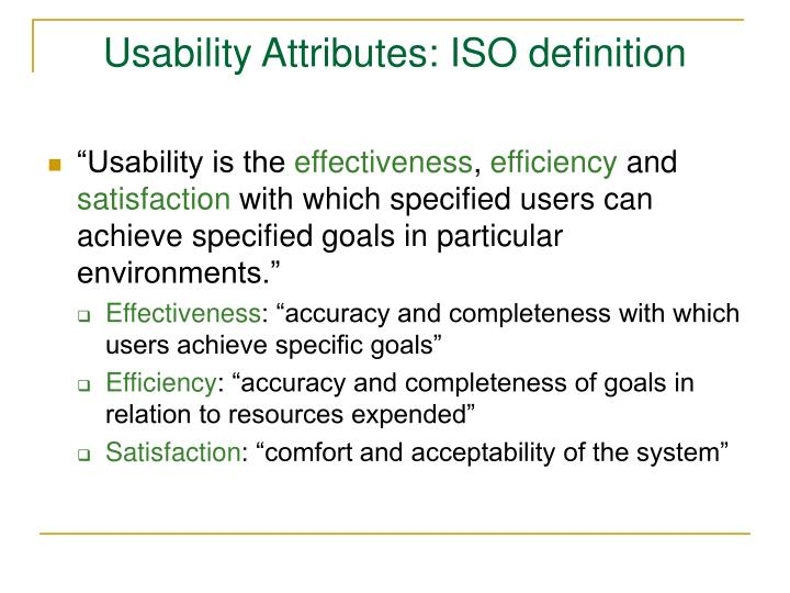 Usability Attributes: ISO definition