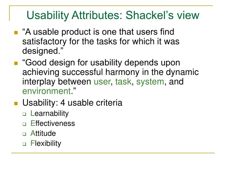 Usability Attributes: Shackel's view
