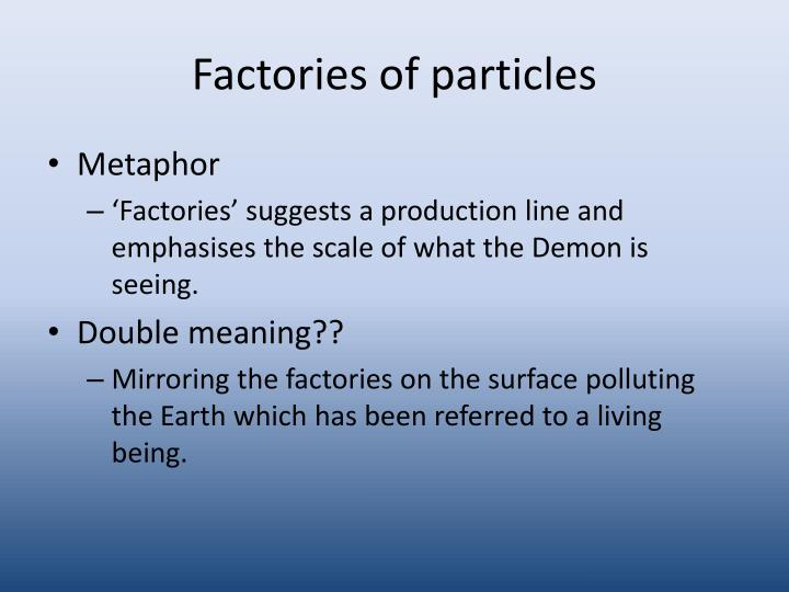 Factories of particles