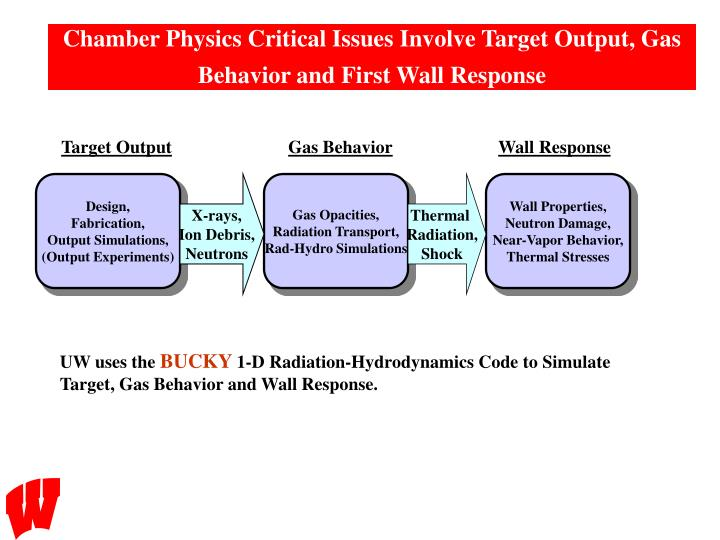 Chamber Physics Critical Issues Involve Target Output, Gas Behavior and First Wall Response