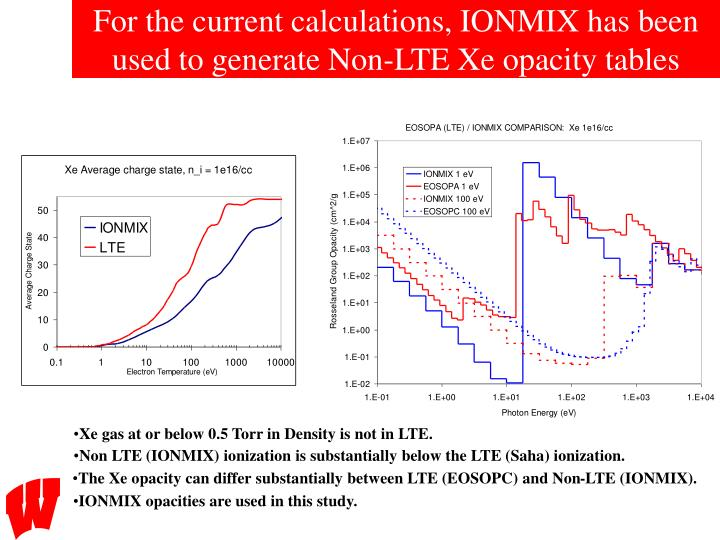For the current calculations, IONMIX has been used to generate Non-LTE Xe opacity tables