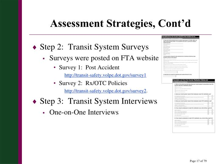 Assessment Strategies, Cont'd