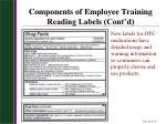 components of employee training reading labels cont d