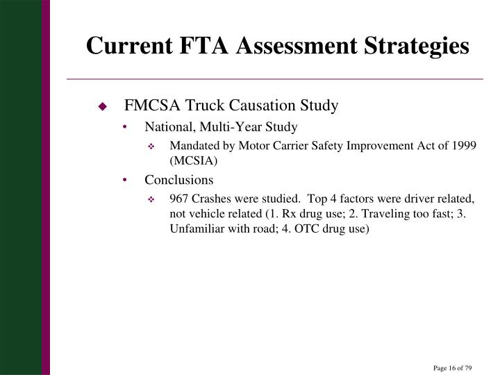 Current FTA Assessment Strategies