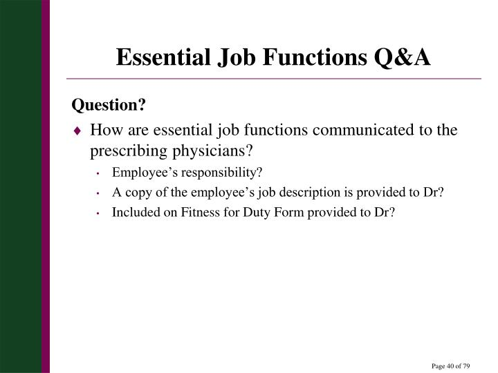 Essential Job Functions Q&A