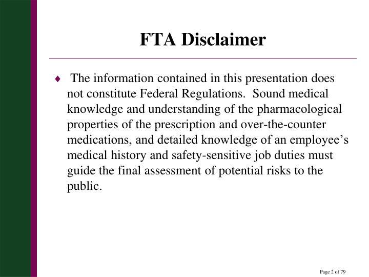 FTA Disclaimer