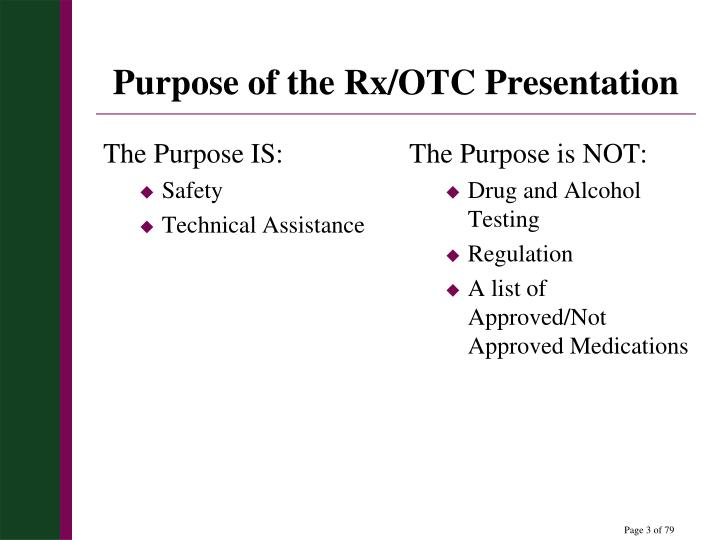 Purpose of the Rx/OTC Presentation
