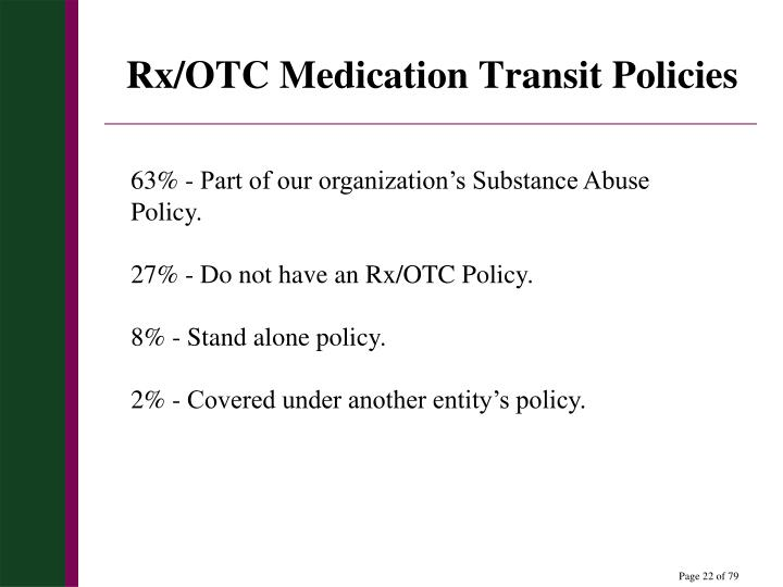 Rx/OTC Medication Transit Policies