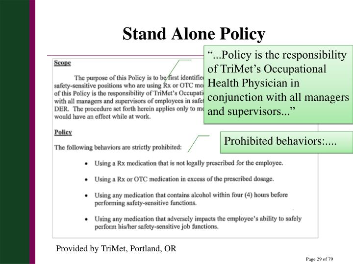 Stand Alone Policy