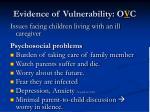 evidence of vulnerability o v c