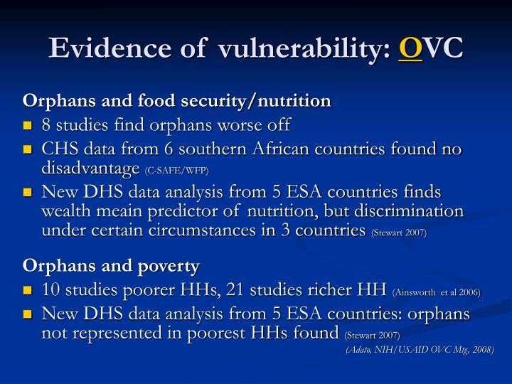 Evidence of vulnerability: