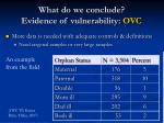 what do we conclude evidence of vulnerability ovc