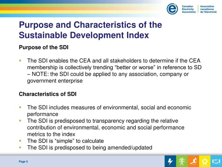 Purpose and Characteristics of the Sustainable Development Index