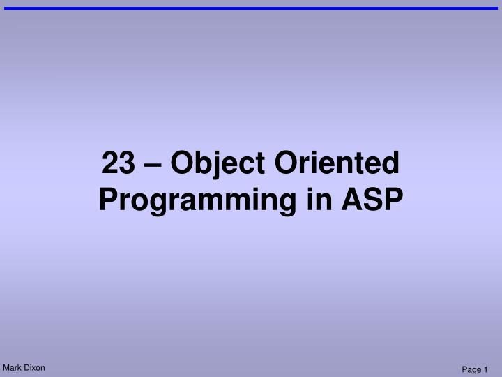 23 object oriented programming in asp