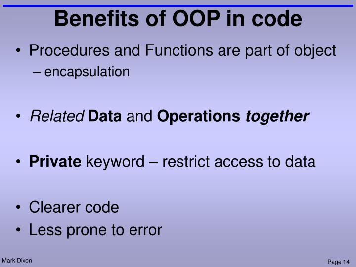 Benefits of OOP in code