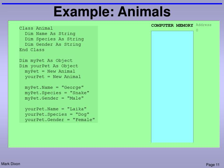 Example: Animals
