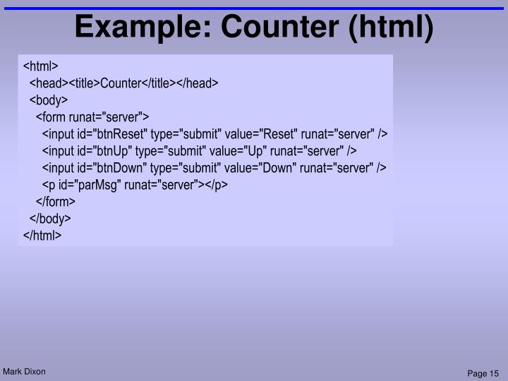 Example: Counter (html)