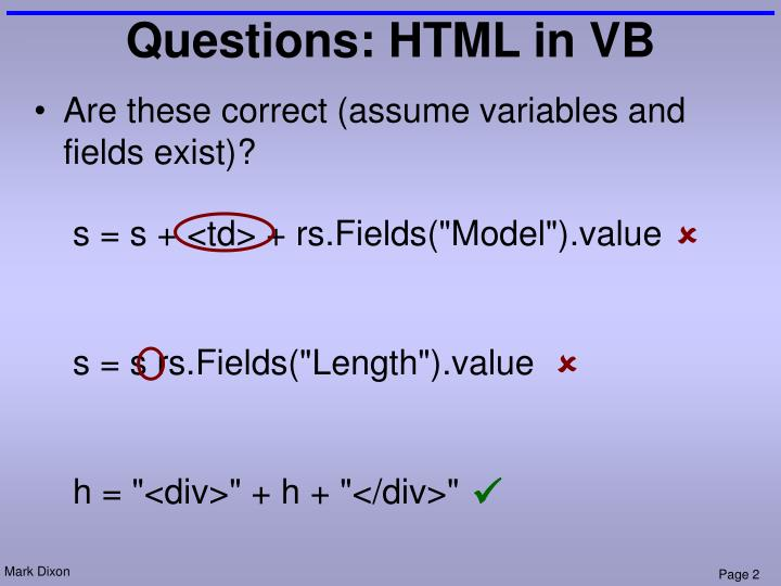 Questions html in vb