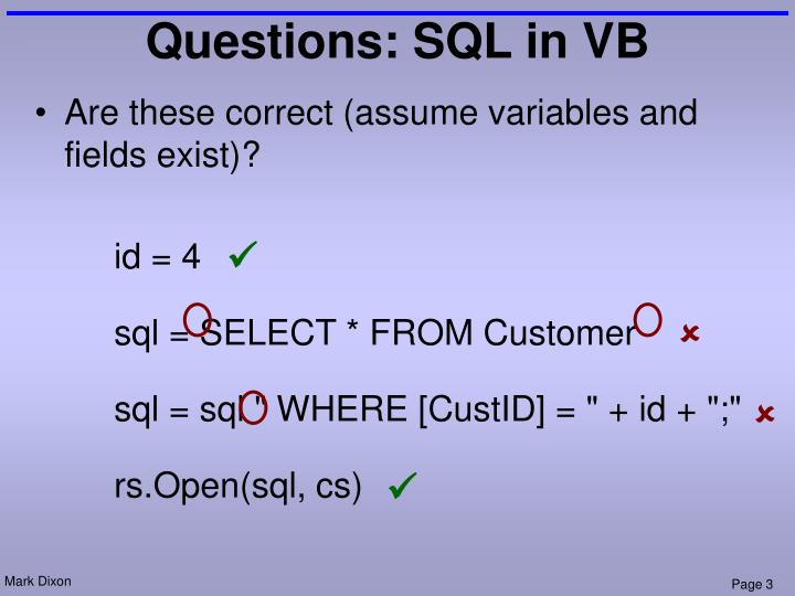 Questions sql in vb