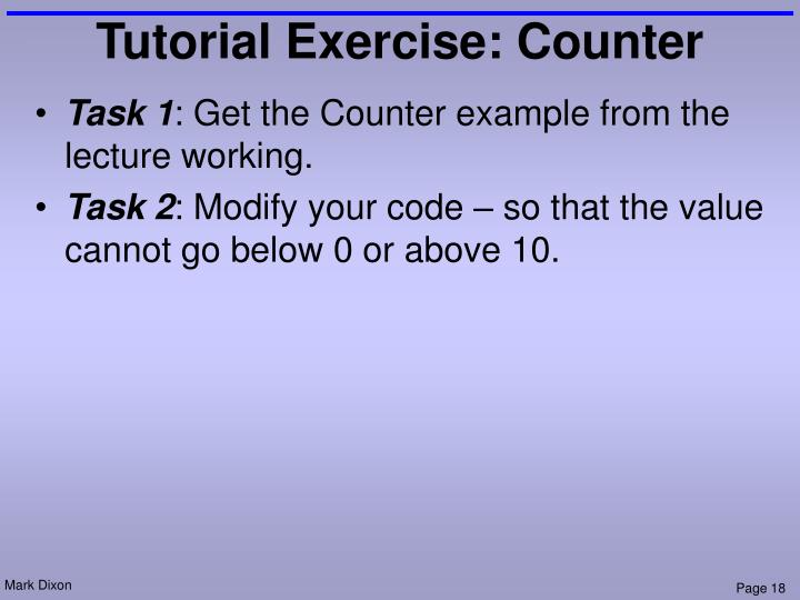 Tutorial Exercise: Counter