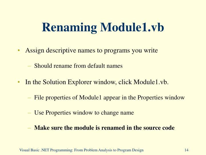 Renaming Module1.vb