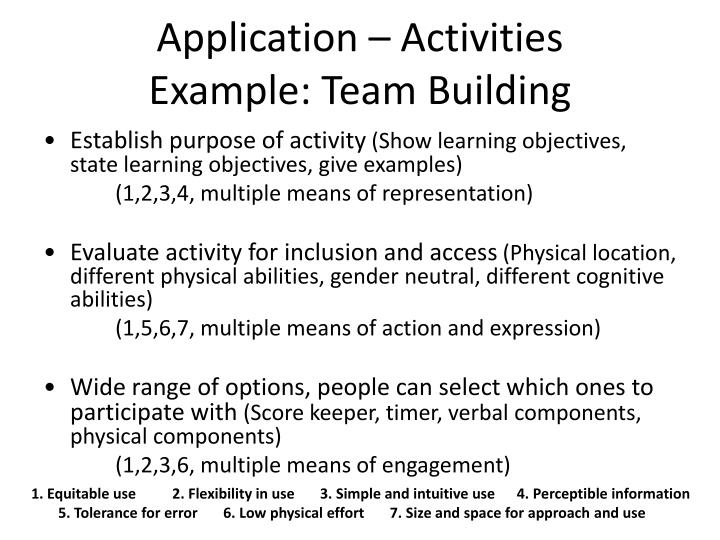 Application – Activities