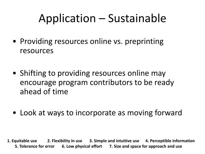 Application – Sustainable