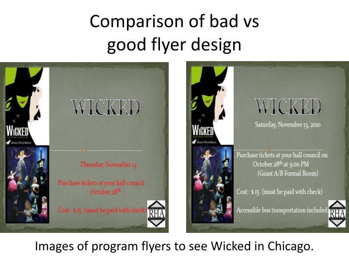 Comparison of bad vs