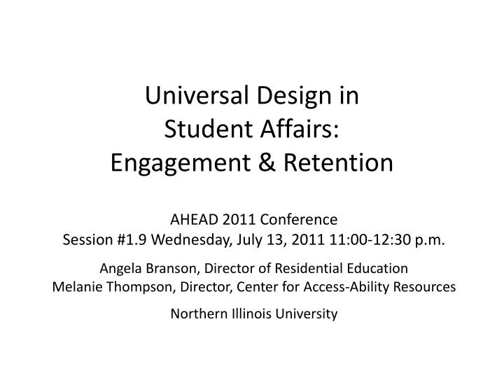 Universal design in student affairs engagement retention