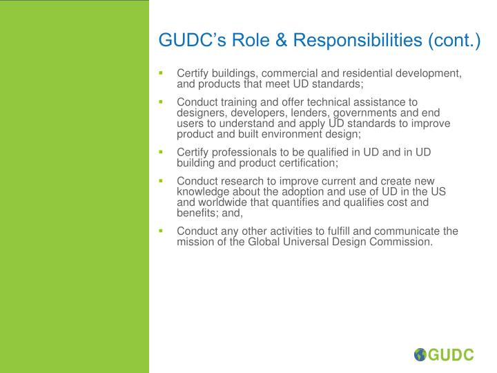 GUDC's Role & Responsibilities (cont.)