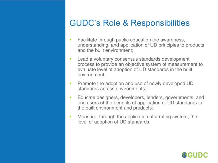 GUDC's Role & Responsibilities