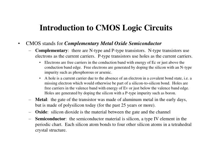 Introduction to CMOS Logic Circuits