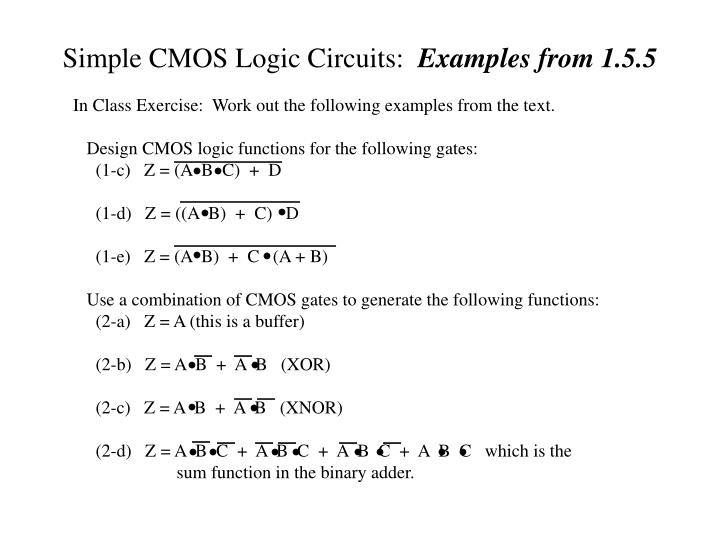 Simple CMOS Logic Circuits: