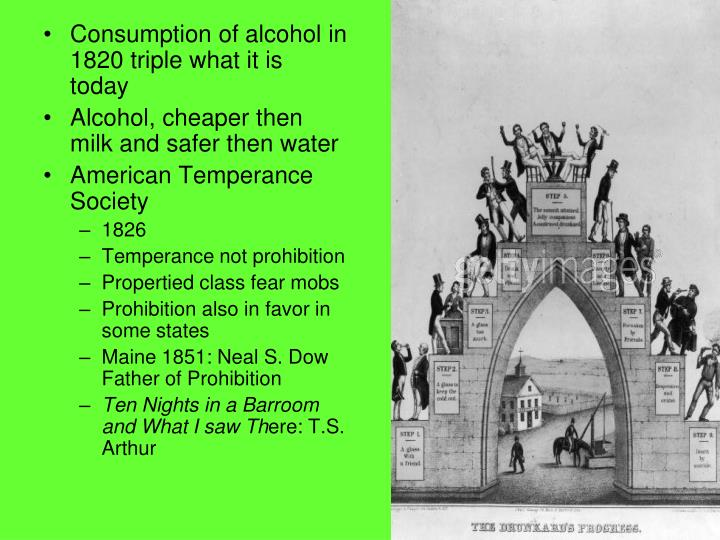 Consumption of alcohol in 1820 triple what it is today