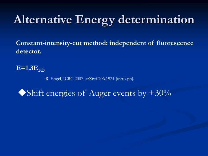 Alternative Energy determination