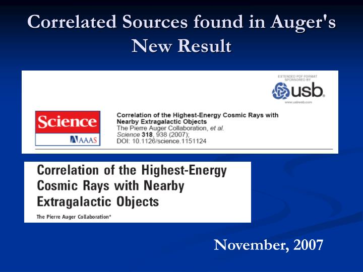 Correlated Sources found in Auger's New Result